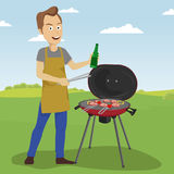 Handsome man cooking barbecue grill outdoors holding a bottle and tongs. Handsome young man cooking barbecue grill outdoors holding a bottle and tongs vector illustration