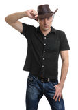 Handsome man in a cowboy hat. Isolated on white Royalty Free Stock Photo