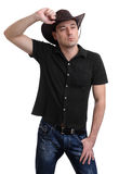 Handsome man in a cowboy hat. Isolated on white Stock Photography