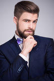 Handsome man in dark blue suit and white shirt. With  bow tie Stock Images