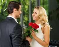 Handsome man dating his lady Royalty Free Stock Photography
