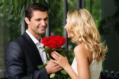 Handsome man dating his lady Royalty Free Stock Photos