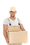 Handsome man delivering packages Royalty Free Stock Photo