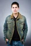 Handsome man in denim jacket Royalty Free Stock Photos