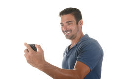 Handsome man does selfie Stock Photos