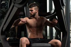 Handsome Man Doing Heavy Weight Exercise For Chest Royalty Free Stock Photo