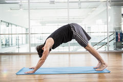 Handsome man doing yoga on mat Royalty Free Stock Photos