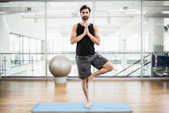 Handsome man doing yoga on mat Royalty Free Stock Image