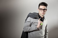 Handsome man dressed casual wearing glasses Stock Photos