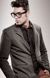 Handsome man dressed casual wearing glasses Royalty Free Stock Photos