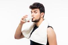 Handsome man drinking milk Stock Image