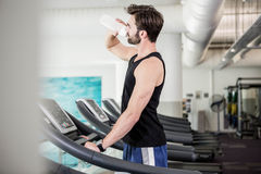 Handsome man drinking water on treadmill Stock Image
