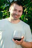 Handsome man drinking wine outdoor Royalty Free Stock Photography