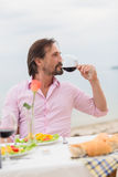 Handsome man drinking wine Stock Photos