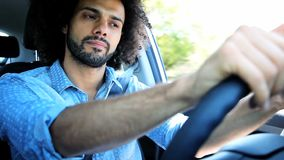 Handsome man driving car feeling lonely and sad Royalty Free Stock Photography