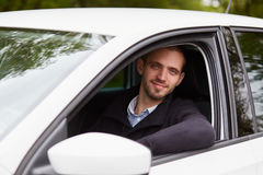 Handsome man driving car Royalty Free Stock Image
