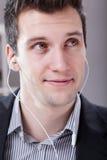Handsome man with earphones Stock Photo