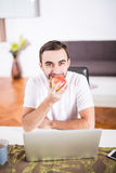 Handsome man eating apple and working with laptop at kitchen at home. Royalty Free Stock Photos