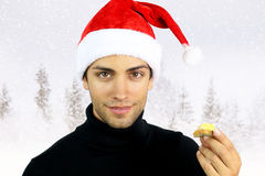 Handsome man eating foie gras. For Christmas royalty free stock photo