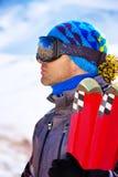 Handsome man enjoys ski resort Royalty Free Stock Photo