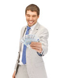 Handsome man with euro cash money Royalty Free Stock Images