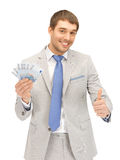 Handsome man with euro cash money Royalty Free Stock Photos