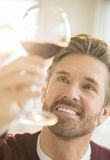 Handsome Man Examining Glass Of Red Wine Stock Image