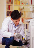 Handsome man fixing a photocopier during maintenance using a screwdriver wearing work gloves Stock Images