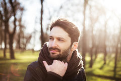 Handsome man in a forest Royalty Free Stock Photos