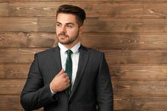Handsome man in formal suit. On wooden background Royalty Free Stock Images
