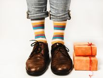 Man in funny socks and stylish shoes stock images
