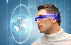 Handsome man with futuristic glasses Royalty Free Stock Photo