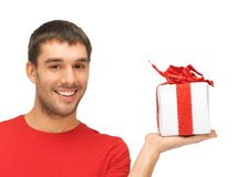 Handsome man with a gift Stock Image