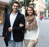 Handsome man with girlfriend outdoors Royalty Free Stock Photos