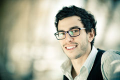 Handsome man with glasses Stock Photos