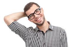 Handsome man in glasses isolated on white Stock Photo