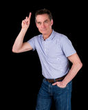 Handsome Man Hands Pointing Upwards Royalty Free Stock Image