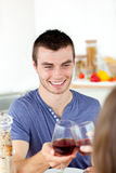 Handsome man having diner with his girlfriend Royalty Free Stock Photos