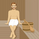 Handsome man having sauna bath in steam room Stock Photos