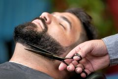 Handsome man having a shave with scissors at the barbershop. royalty free stock images