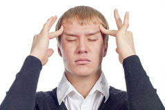 Handsome man with headache. Over white Royalty Free Stock Images