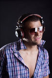 Handsome man with headphones Stock Image