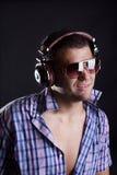 Handsome man with headphones Stock Image