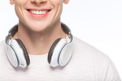 Handsome man with headphones Royalty Free Stock Images