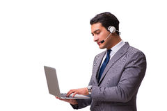 The handsome man with headset isolated on white. Handsome man with headset isolated on white royalty free stock photography