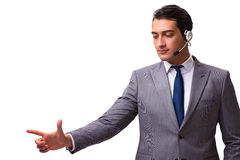 The handsome man with headset isolated on white Royalty Free Stock Photo