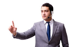 The handsome man with headset isolated on white Stock Images