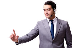 The handsome man with headset isolated on white Royalty Free Stock Images