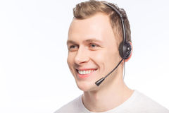 Handsome man with headset Stock Image