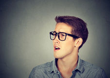 Handsome man with his mouth open, talking Stock Image